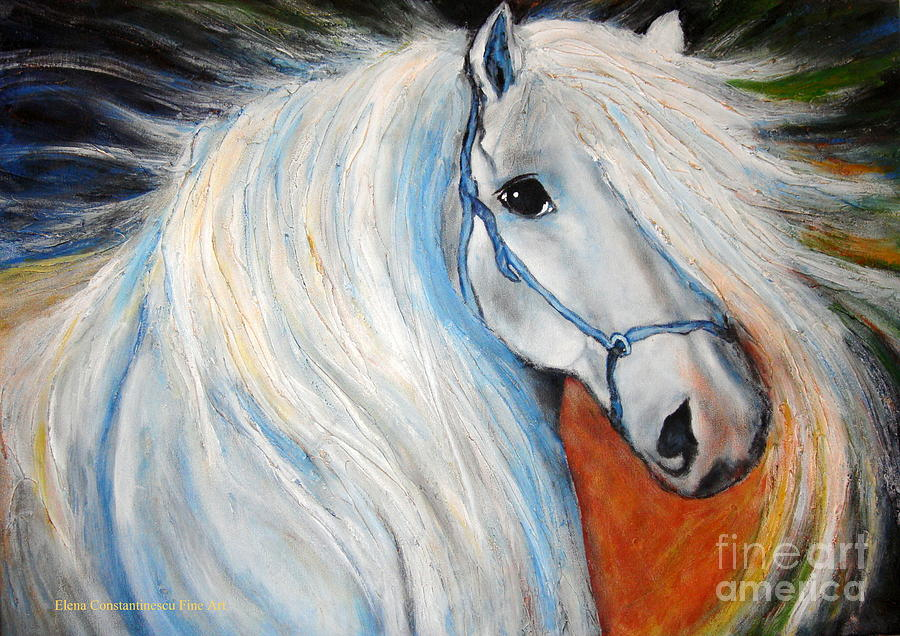 Horse Painting - Nobless by Elena  Constantinescu