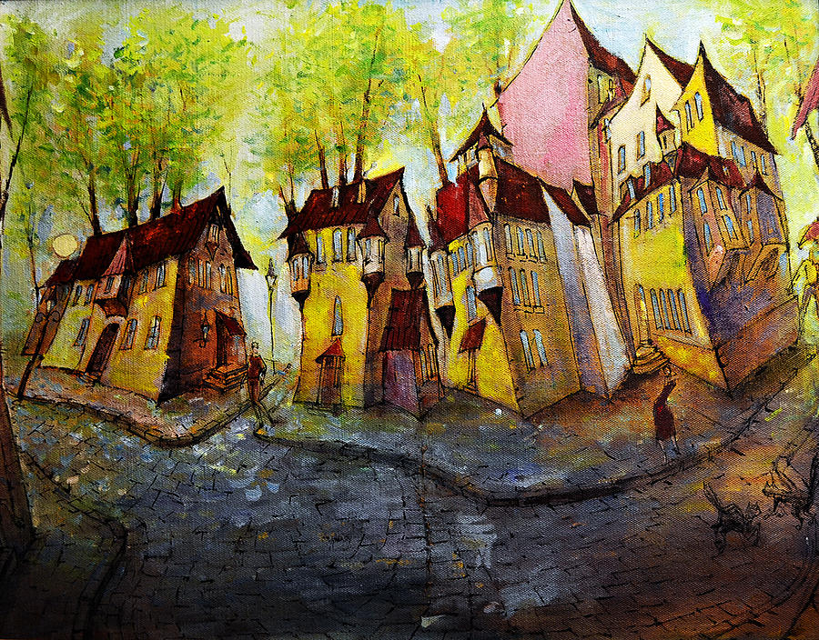 Landscape Painting - Nobody Knows That My House Flies by Oleg  Poberezhnyi