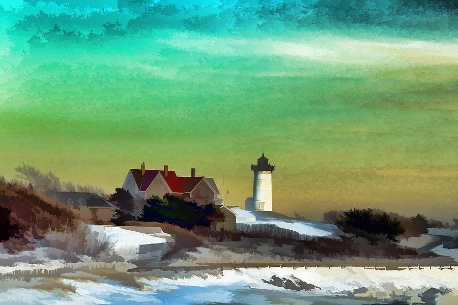 Landscape Photograph - Nobska Lighhouse In Winter by PepperMillPatty Photography