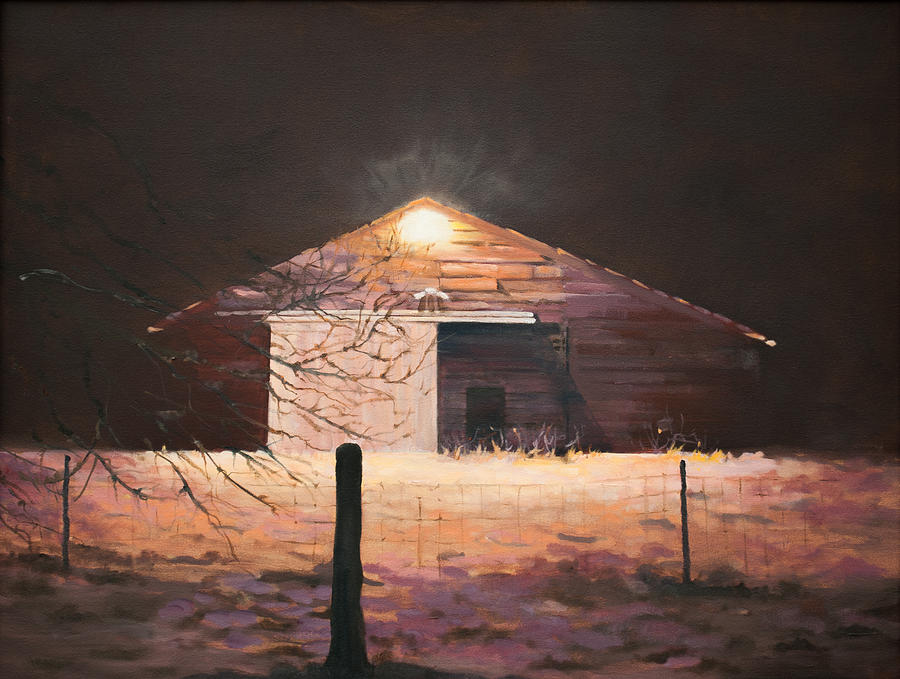 Nocturnal Barn Painting by Rebecca Matthews