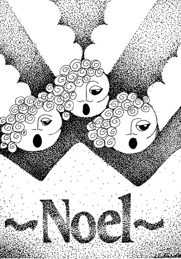 Stippling Drawing - Noel Angels by Joy Bradley
