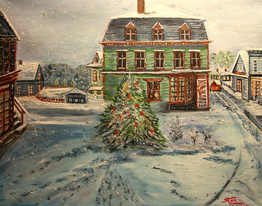 Winter Painting - Noel in Dock Square by Kenneth LePoidevin