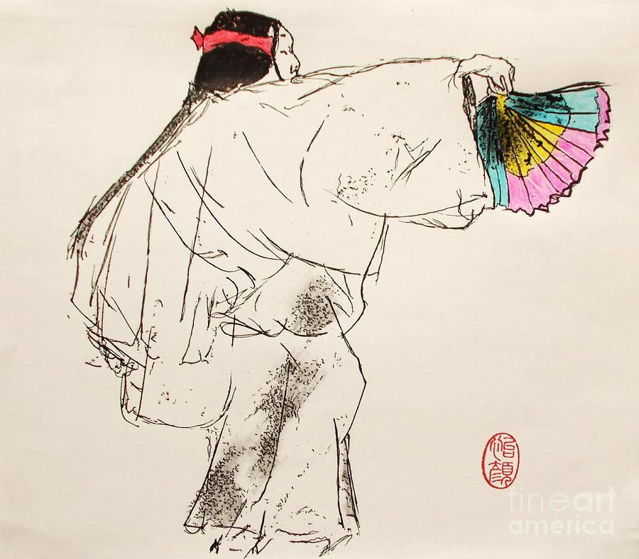 Noh Player Drawing by Roberto Prusso