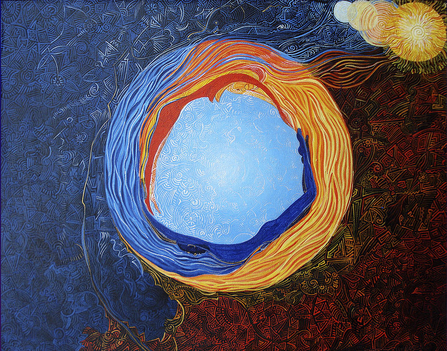 Cosmism Painting - Nommo Ship Entering Into Happy Marriage With Earth by Lola Lonli