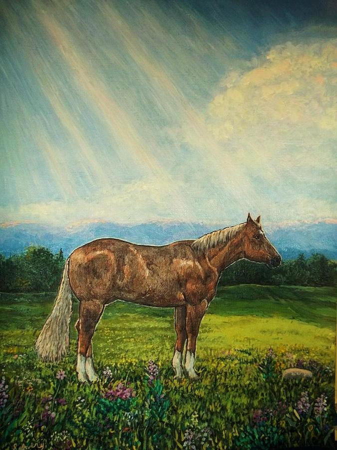 Horse Painting - Noon Day Repose by Sharon Avery