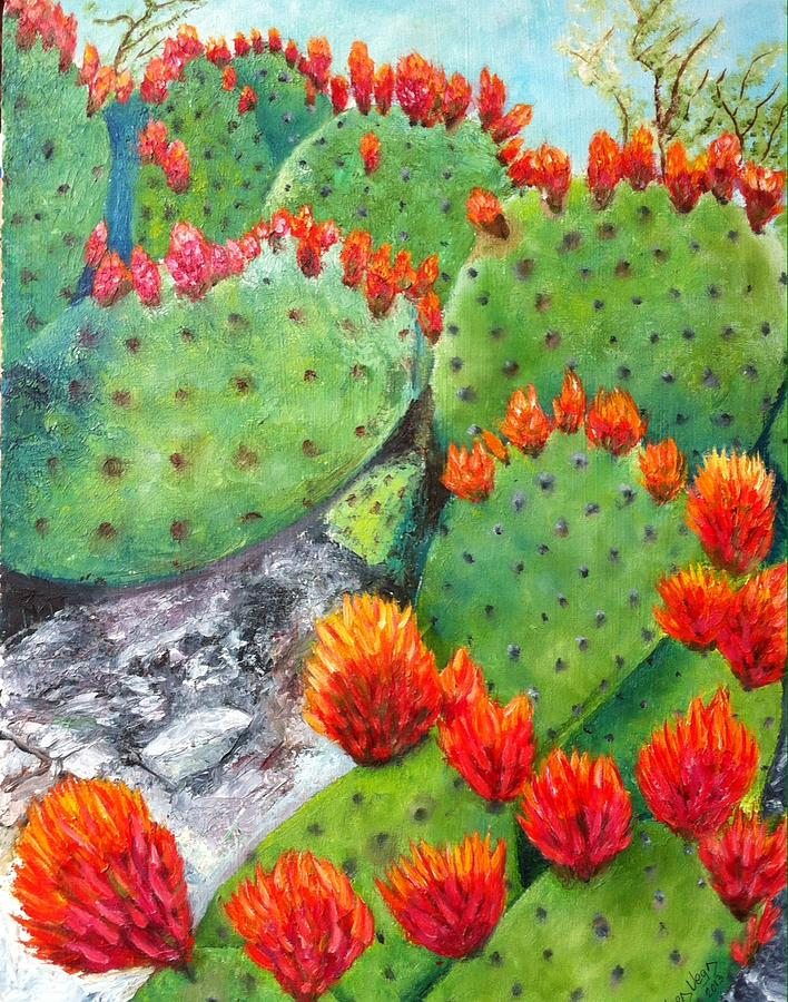 Nopal With Red Flowers  Painting by Nora Vega