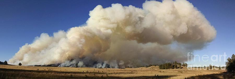 Fire Photograph - Norbeck Prescribed Fire Smoke Column by Bill Gabbert