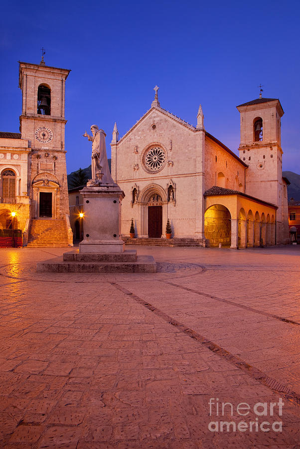 Piazza Photograph - Norcia Umbria by Brian Jannsen