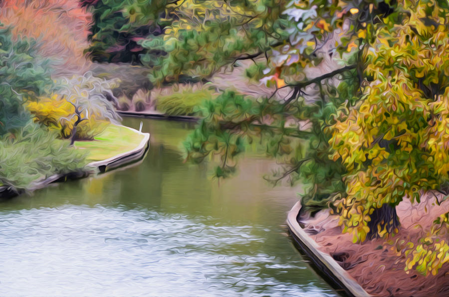Norfolk Botanical Gardens Canal Painting - Norfolk Botanical Gardens Canal 7 by Jeelan Clark