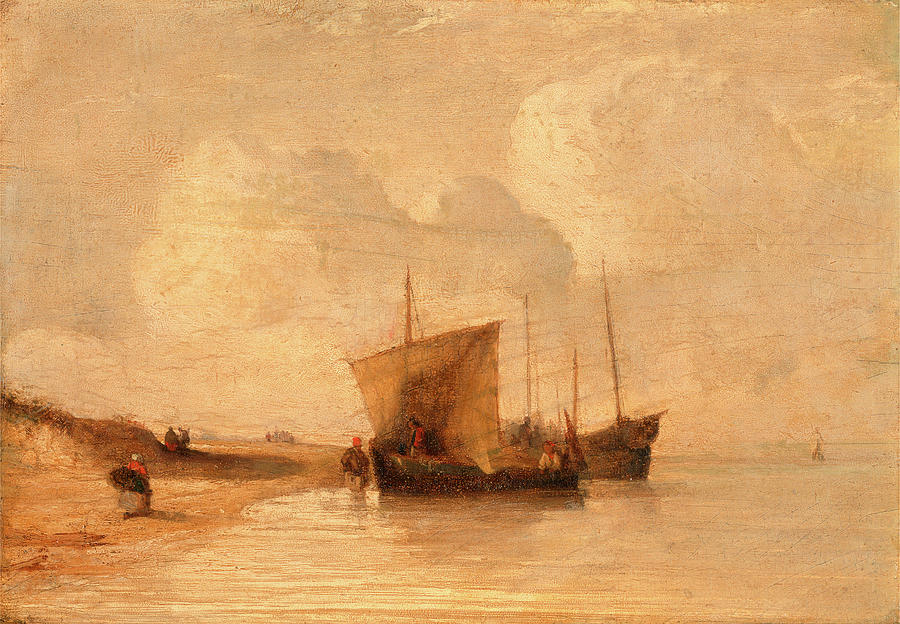 1802 Painting - Normandy Coast, France, Attributed To Richard Parkes by Litz Collection
