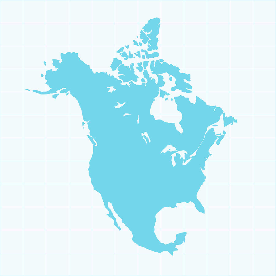 North America Map On Grid On Blue By Iconeer
