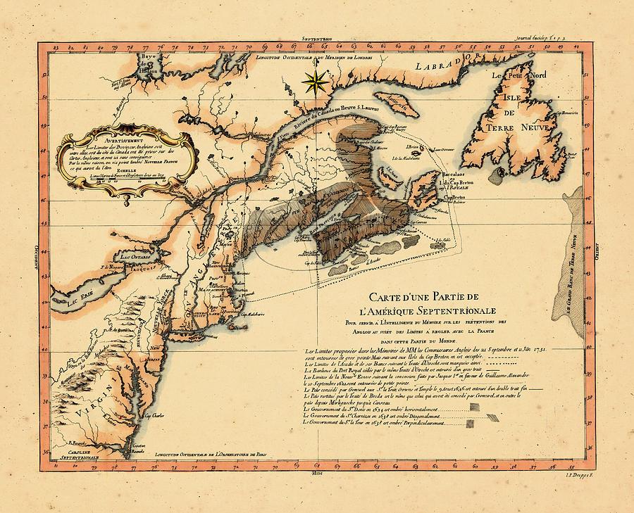 Map Of America Virginia.North America New Brunswick Newfoundland And Labrador Nova Scotia Prince Edward Island Virginia 1756 By Historic Map Works Llc And Osher Map