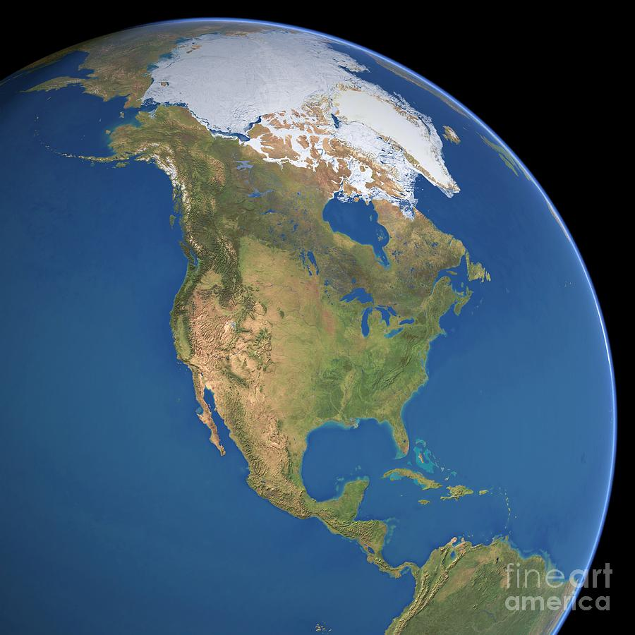 North America Satellite Image Photograph By Planetary Visions Ltd - Photos from satellite