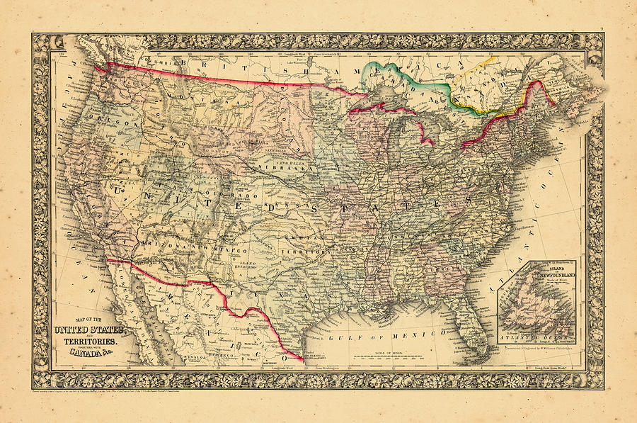 North America, United States, 1860, Map Of America by Historic Map Works  LLC and Osher Map Library