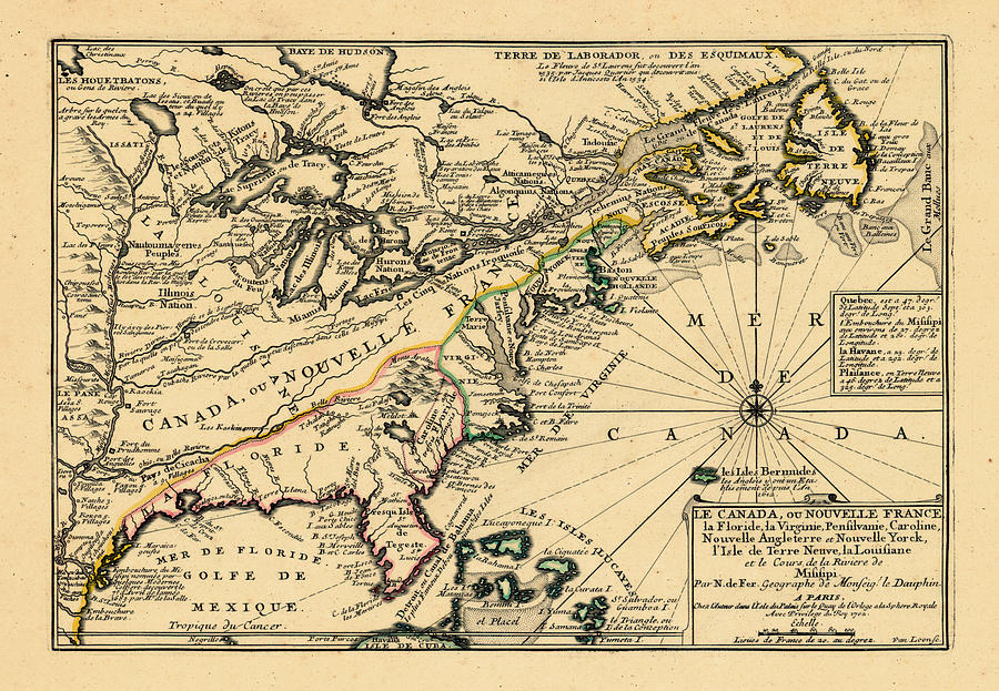 North America, United States, New York, Canada, Pennsylvania, Virginia, North Carolina, 1702 Drawing by Historic Map Works LLC and Osher Map Library