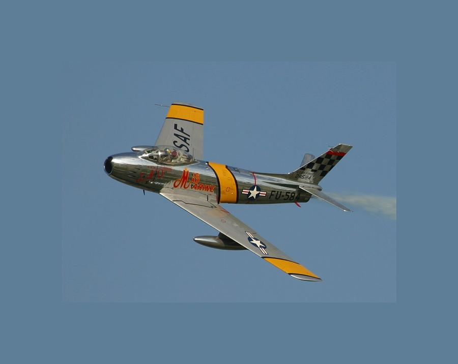 Oshkosh Photograph - North American F 86 Sabre John Glenn Border by L Brown