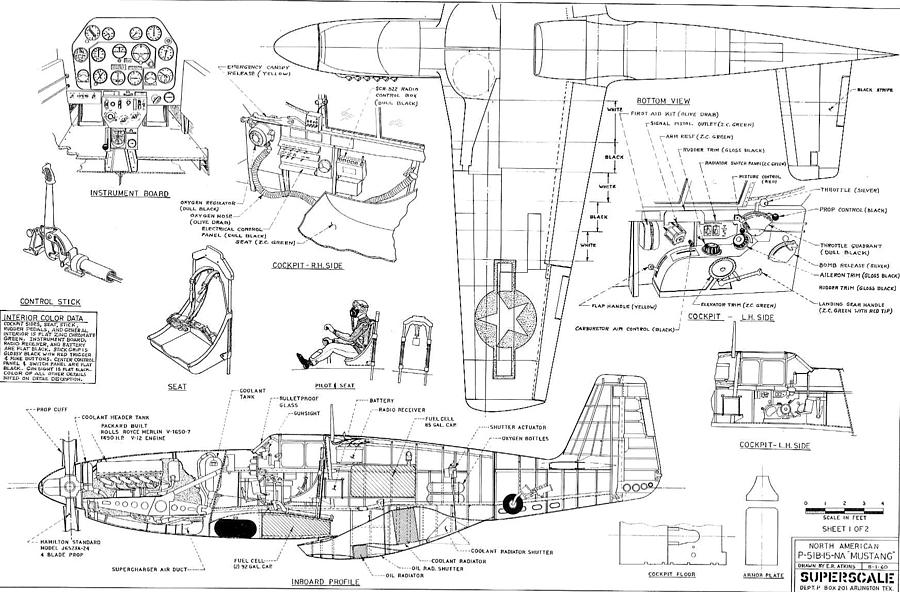 North American Mustang P51 B Schematic Diagram Photograph