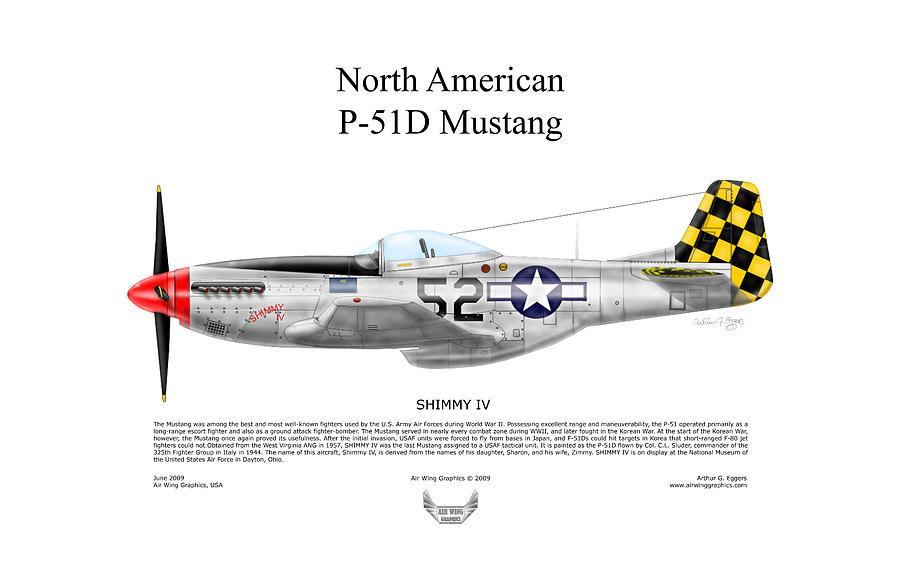 North American Digital Art - North American P-51d Shimmy Iv by Arthur Eggers