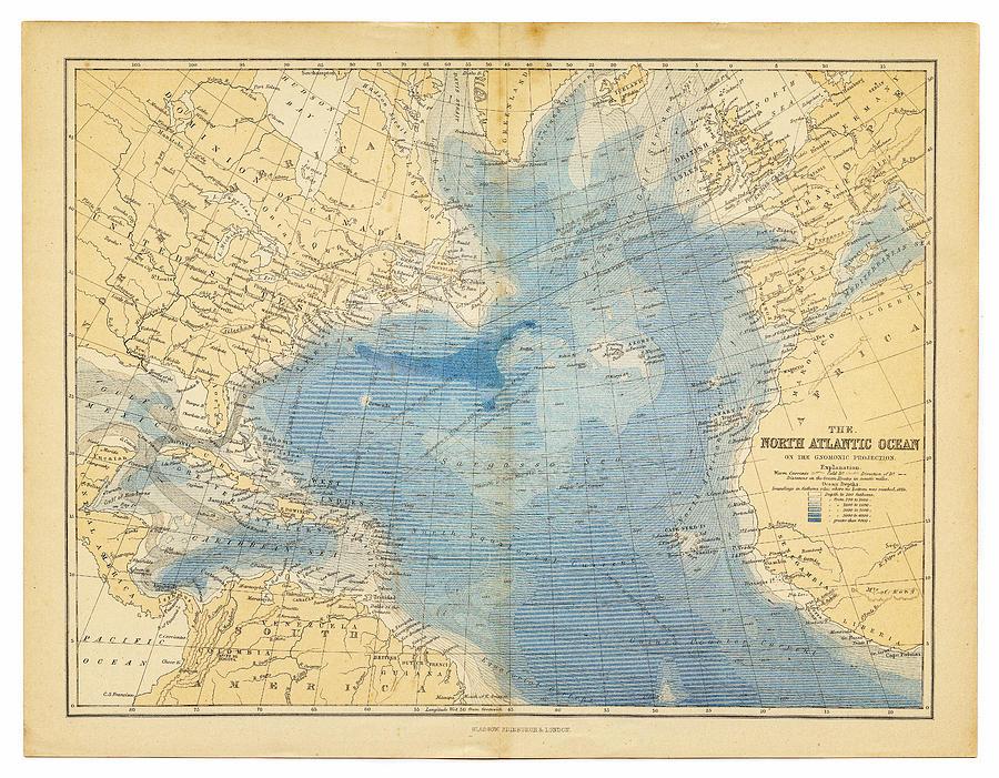 North Atlantic Ocean Map 1882 Digital Art by Thepalmer
