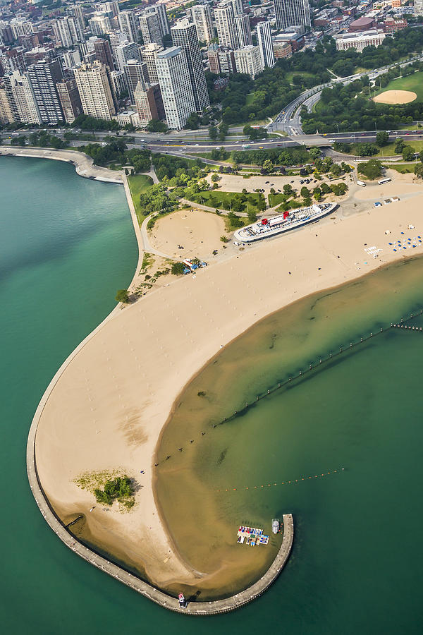 3scape Photograph - North Avenue Beach And Castaways Restaurant by Adam Romanowicz