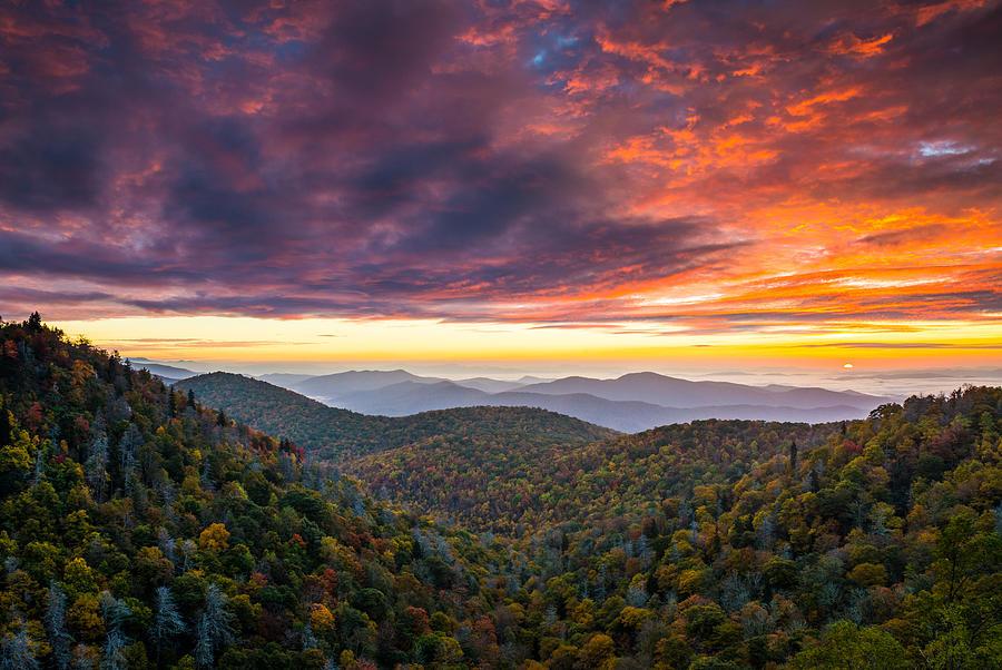 North Carolina Blue Ridge Parkway Autumn At East Fork Photograph