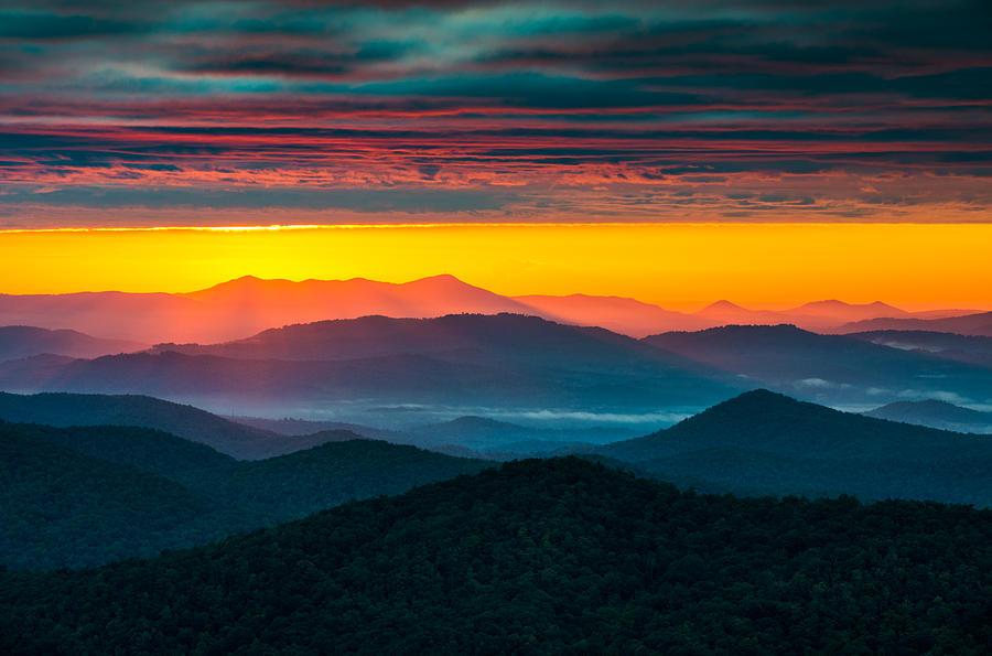 North Carolina Photograph - North Carolina Blue Ridge Parkway Morning Majesty by Dave Allen