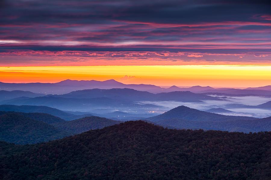 North Carolina Photograph - North Carolina Blue Ridge Parkway Nc Autumn Twilight by Dave Allen