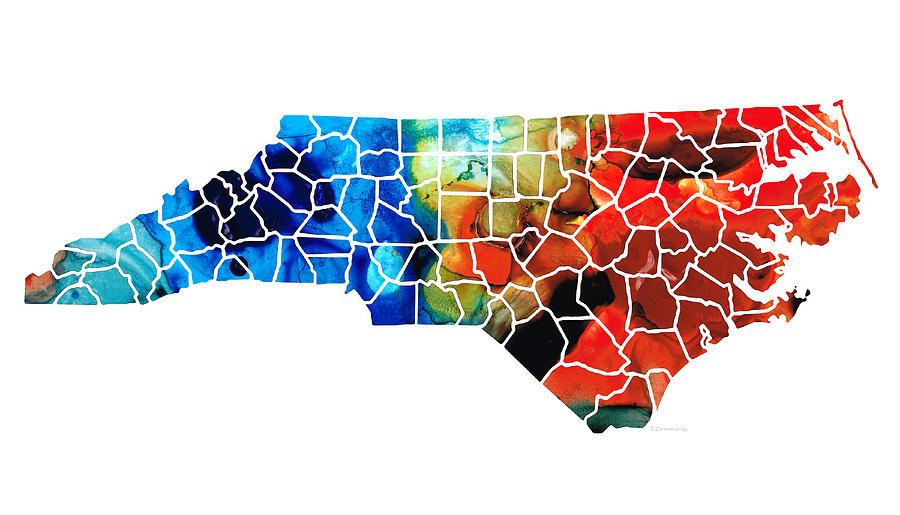 North Carolina Painting - North Carolina - Colorful Wall Map by Sharon Cummings by Sharon Cummings