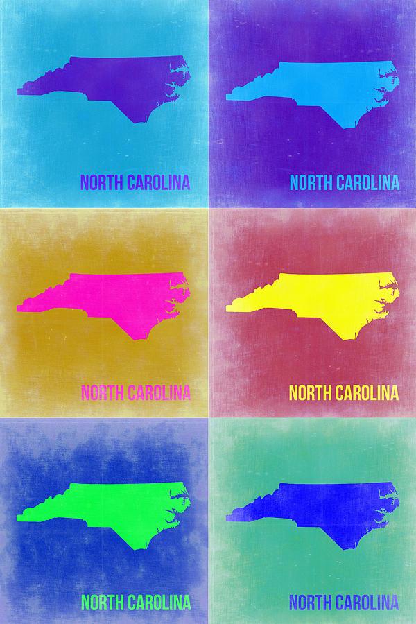 North Carolina Painting - North Carolina Pop Art Map 2 by Naxart Studio