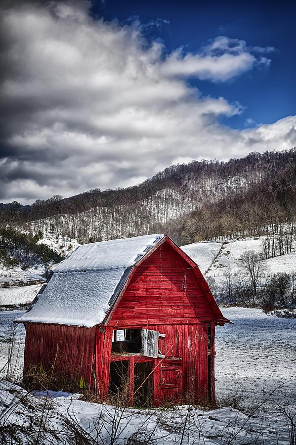 Snow Photograph - North Carolina Red Barn by John Haldane