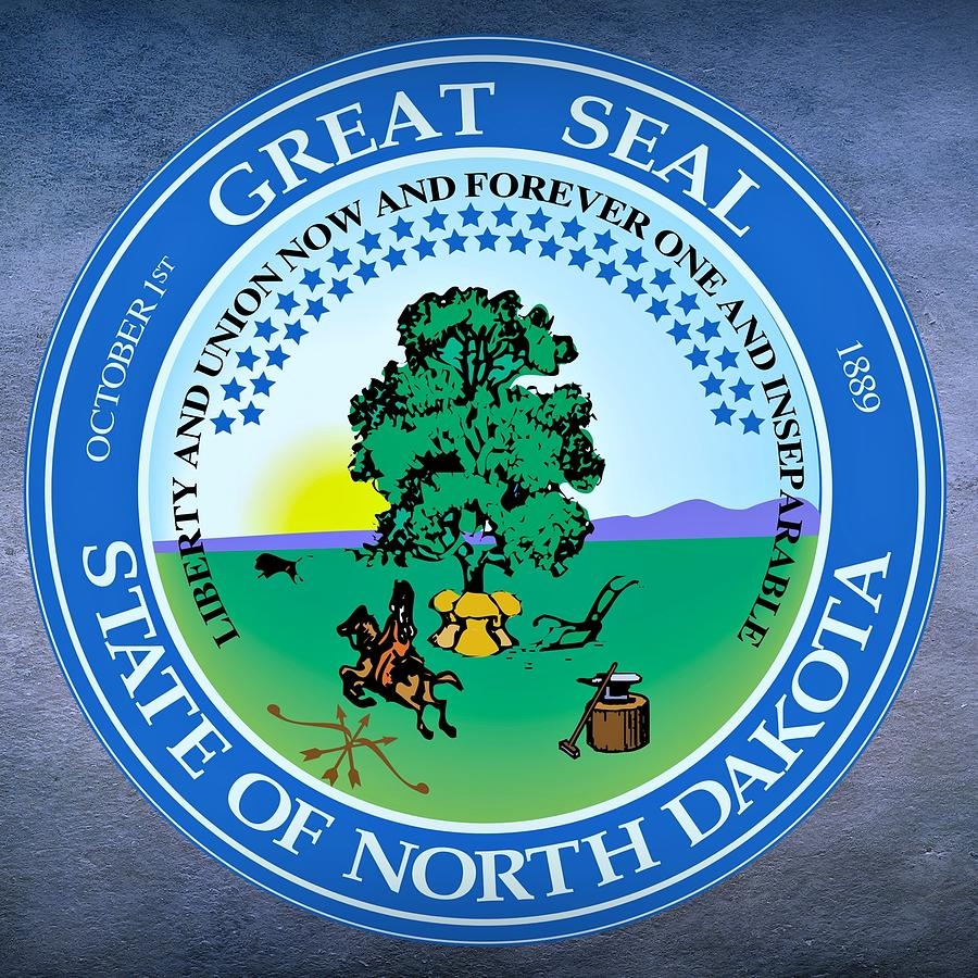 North Dakota Digital Art - North Dakota State Seal by Movie Poster Prints