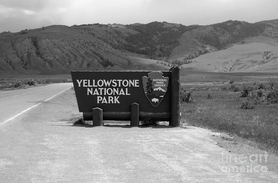 North gate photograph north gate entrance sign yellowstone national park black and white by shawn