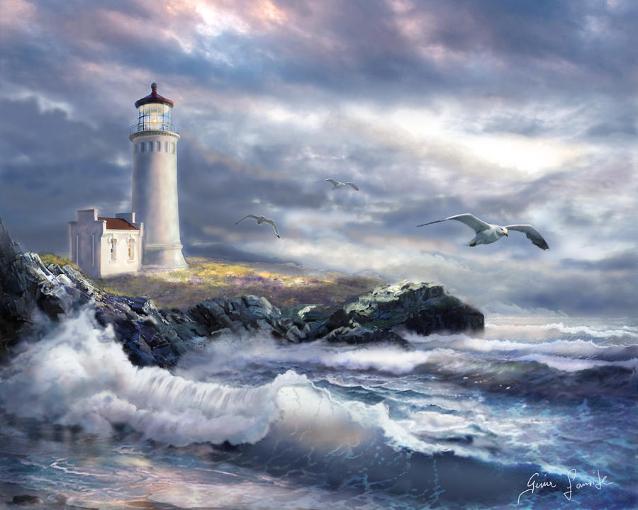 North Head Lighthouse At The Eve Of A Storm Painting By