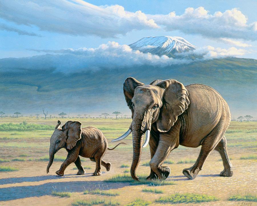 Wildlife Painting - North Of Kilimanjaro  by Paul Krapf
