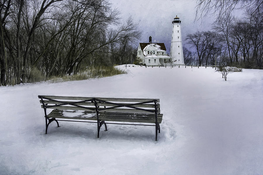 North Point Lighthouse And Bench Photograph