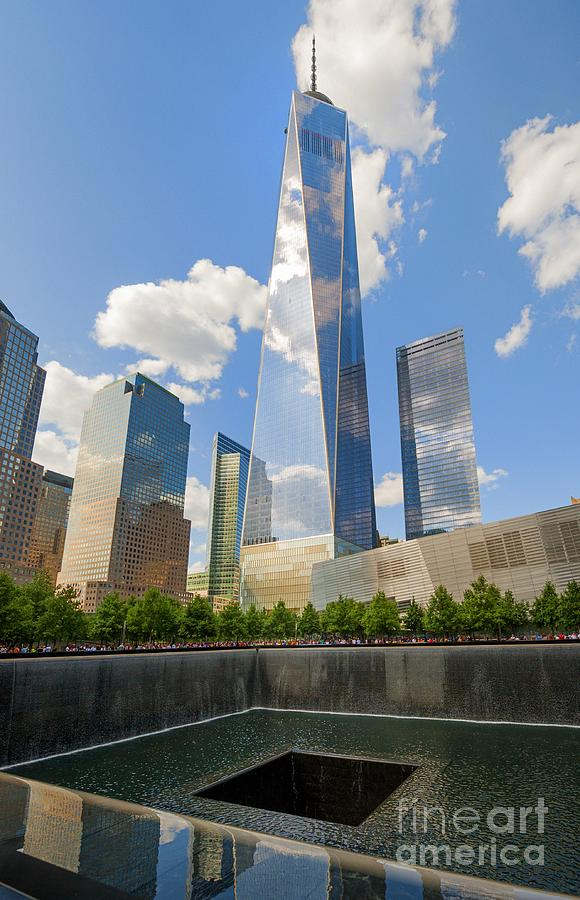 South Pool World Trade Center Freedom Tower 9/11 Memorial New York City Nyc Usa Clouds Trees People Photograph - South Pool And Towers by Ed Rooney
