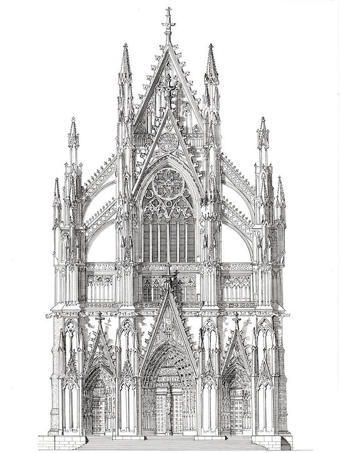 North Portal Cologne Cathedral Germany Drawing By John Simlett