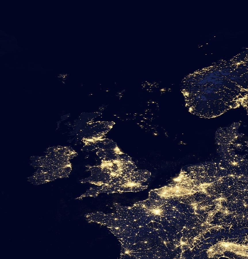 Earth Photograph - North Sea At Night, Satellite Image by Science Photo Library