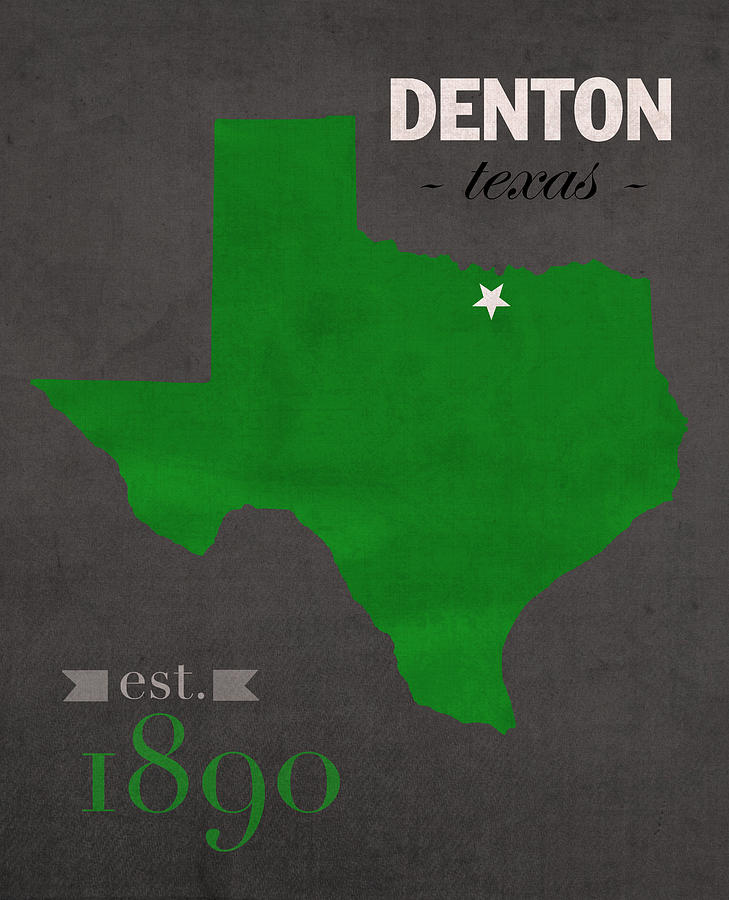 North Texas University Mean Green Denton College Town State Map - Us college map poster