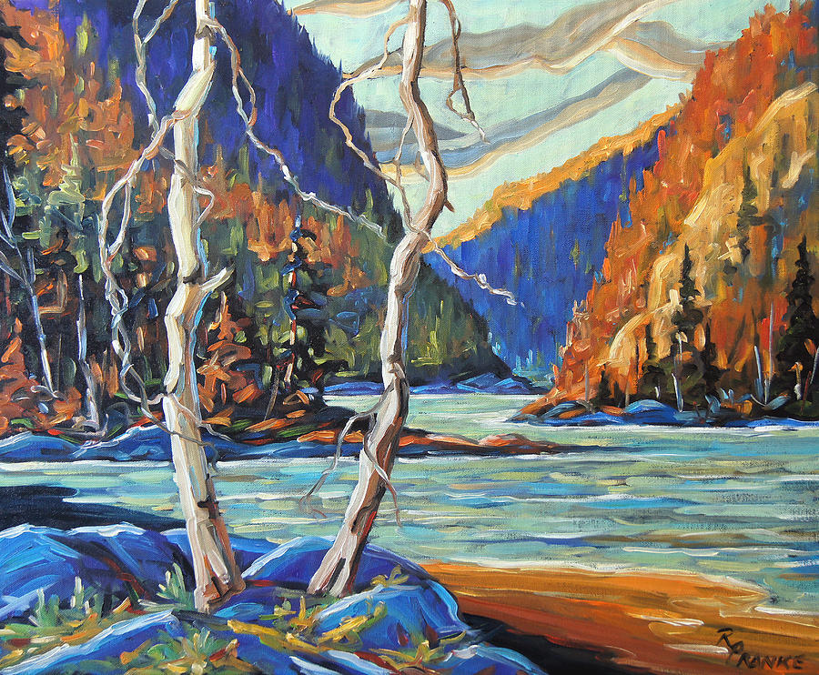 Canadian Rural Scene Created By Richard T Pranke Painting - North West Lake By Prankearts by Richard T Pranke