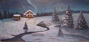 Cabin Painting - North Woods Cabin by Rick Huotari