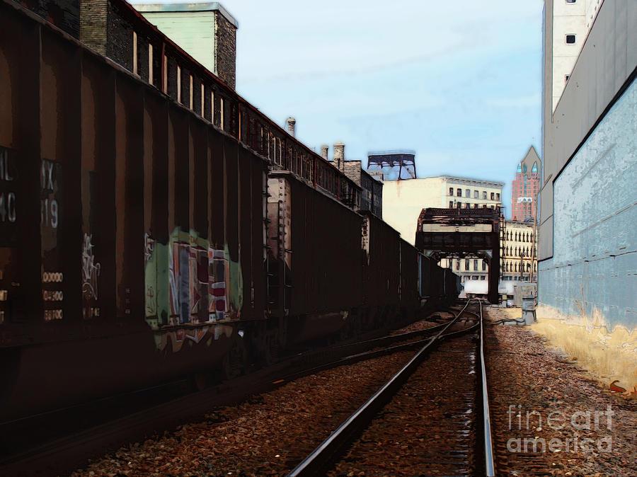 Milwaukee Digital Art - Northbound Freight To Milwaukee by David Blank