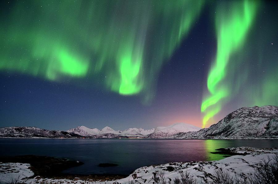 Northern Lights And Moonlit Landscape Photograph by John Hemmingsen