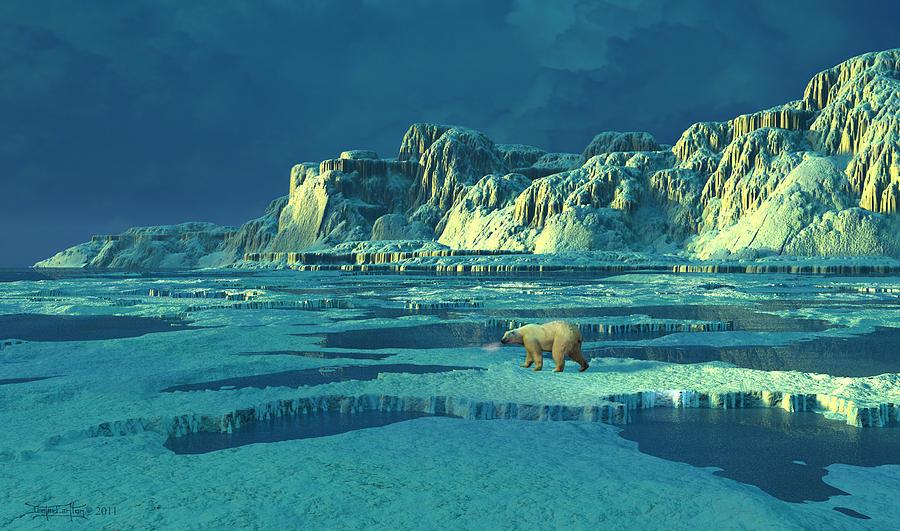 Polar Bear Digital Art - Northern Lights by Dieter Carlton