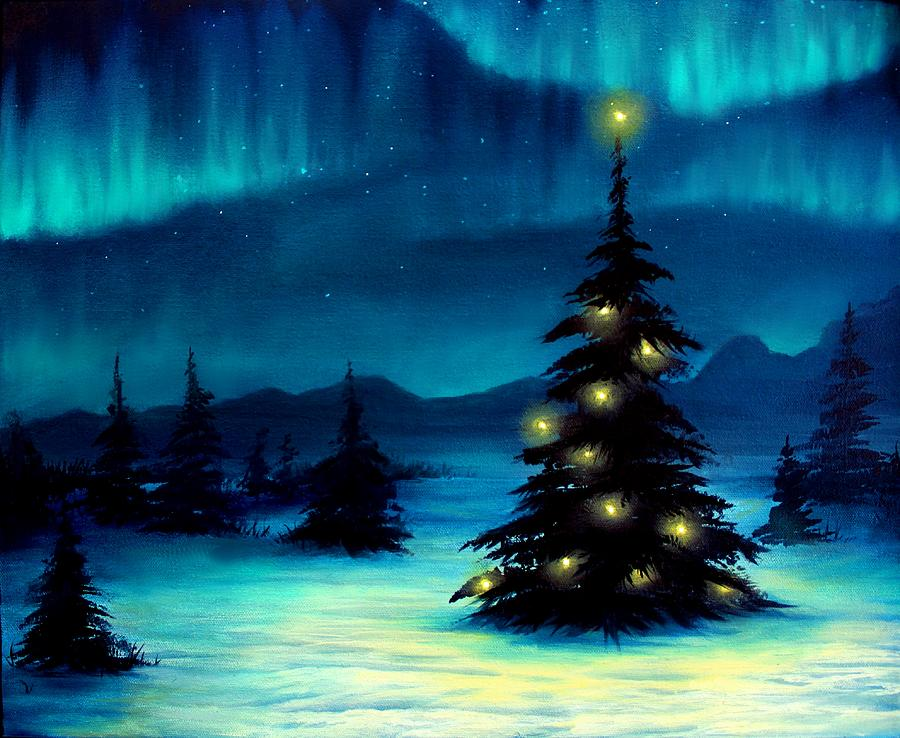 Superb Blue Painting   Northern Lights By Erin Scott