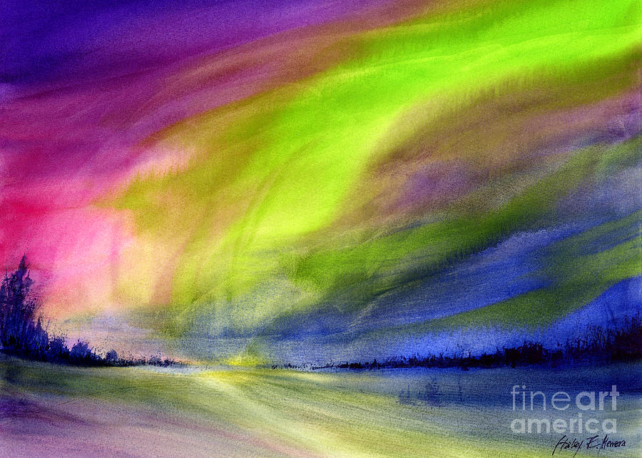 Northern lights painting by hailey e herrera for Lights for paintings