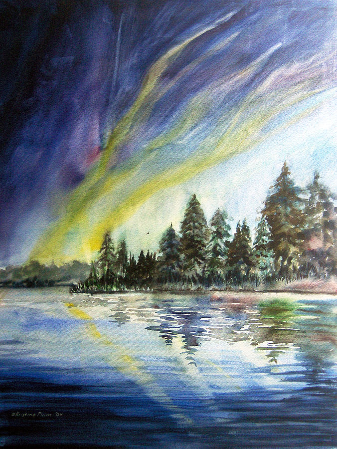 North Lights Painting - Northern Lights by Kristine Plum