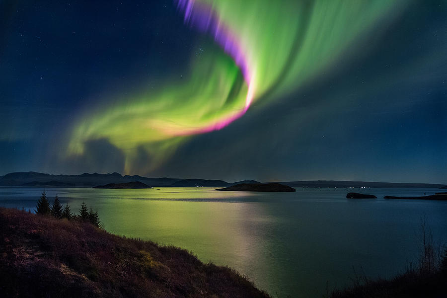 Color Image Photograph - Northern Lights Over Thingvallavatn Or by Panoramic Images