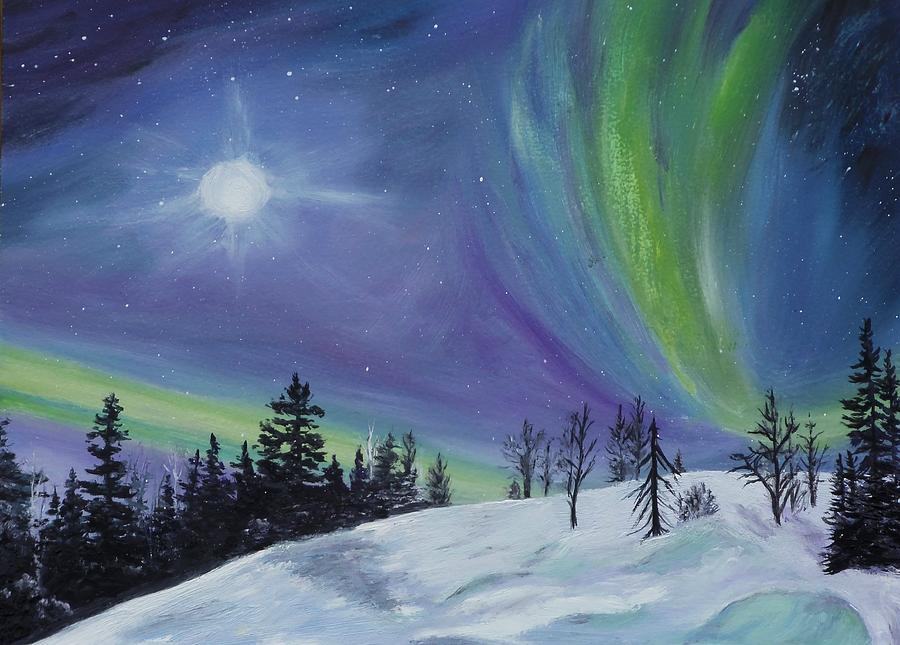 Elegant Moon Painting   Northern Lights By Sandra Schizkoske Design Inspirations
