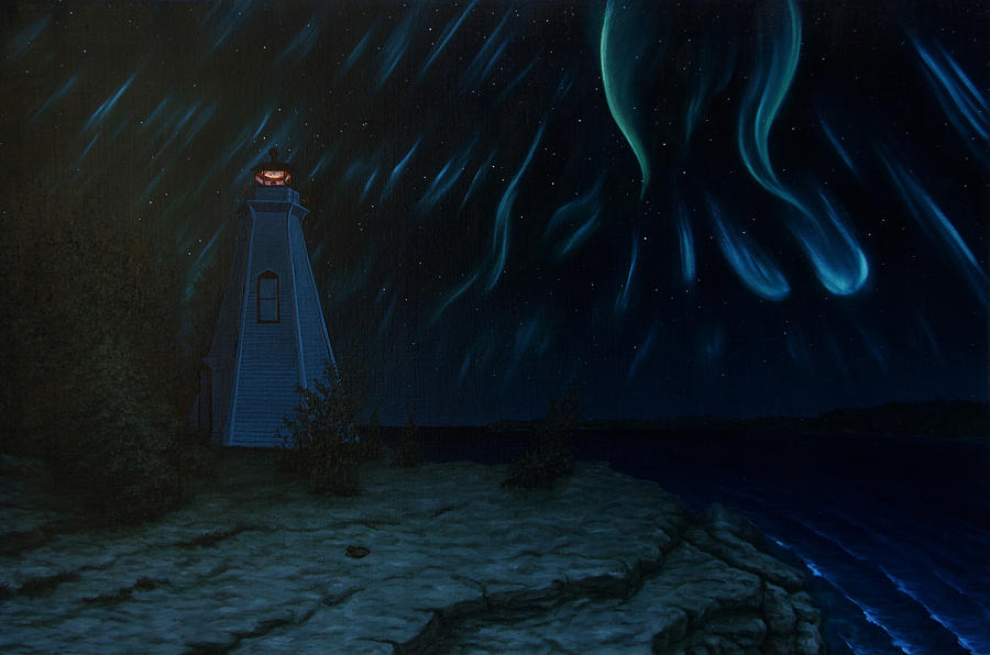 Landscape Painting - Northern Lights Tobermory by Michael Marcotte